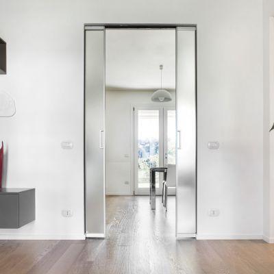 Porte coulissante verre & aluminium - Galandage