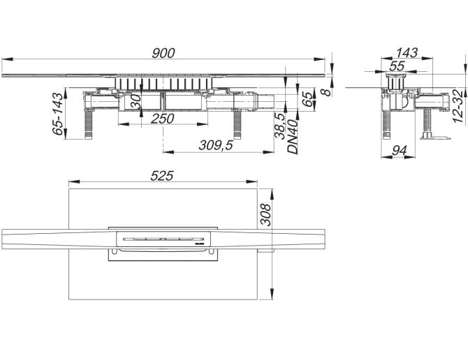 Kit Caniveau de douche CeraFloor Pure pour l'installation centrale avec le corps d'avaloir DallFlex - Sanitaire