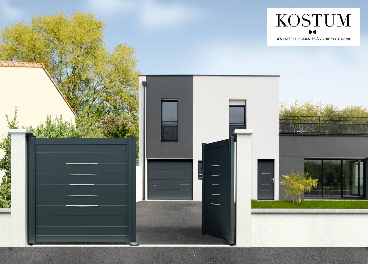 Bel'M et Novoferm - Portail clôture aluminium contemporain